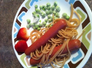 Hot Dog with Noodles in it